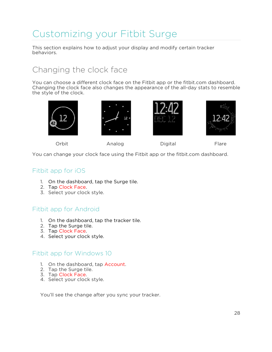Changing the clock face, Customizing your fitbit surge, Fitbit app