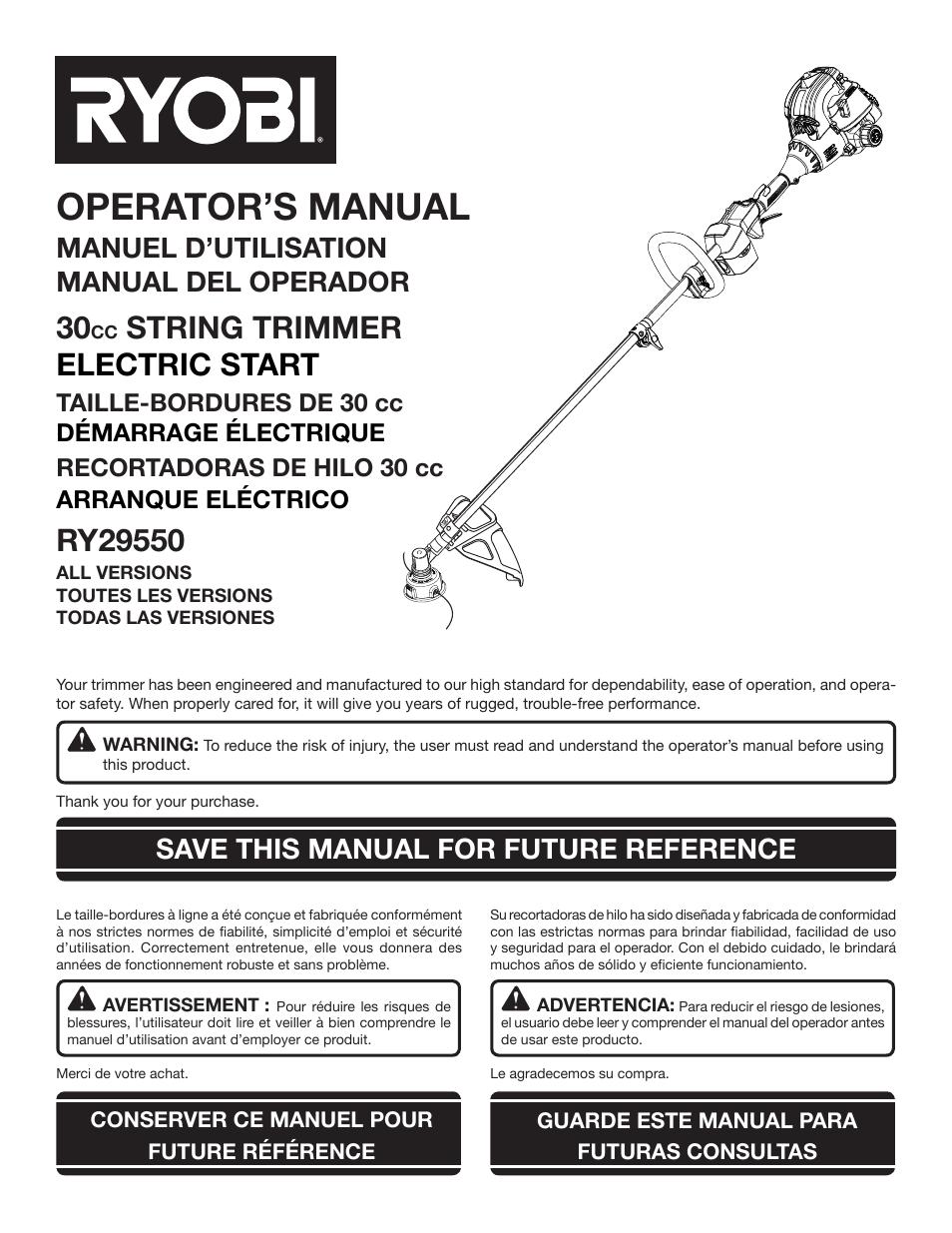 ryobi ry29550 user manual 52 pages original mode rh manualsdir com ryobi line trimmer instruction manual ryobi petrol trimmer instruction manual