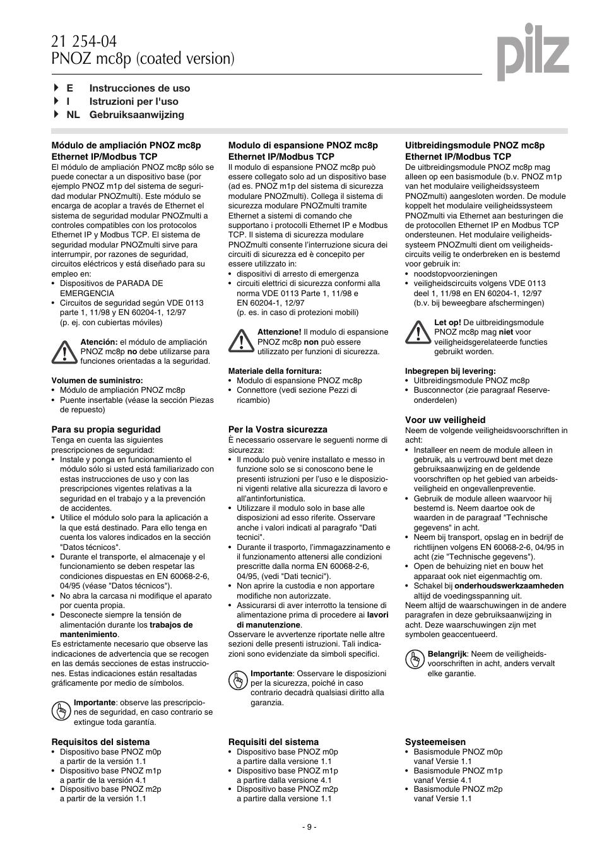 Pilz PNOZ mc8p Ethernet IP / Modbus TCP User Manual   Page 9 / 20