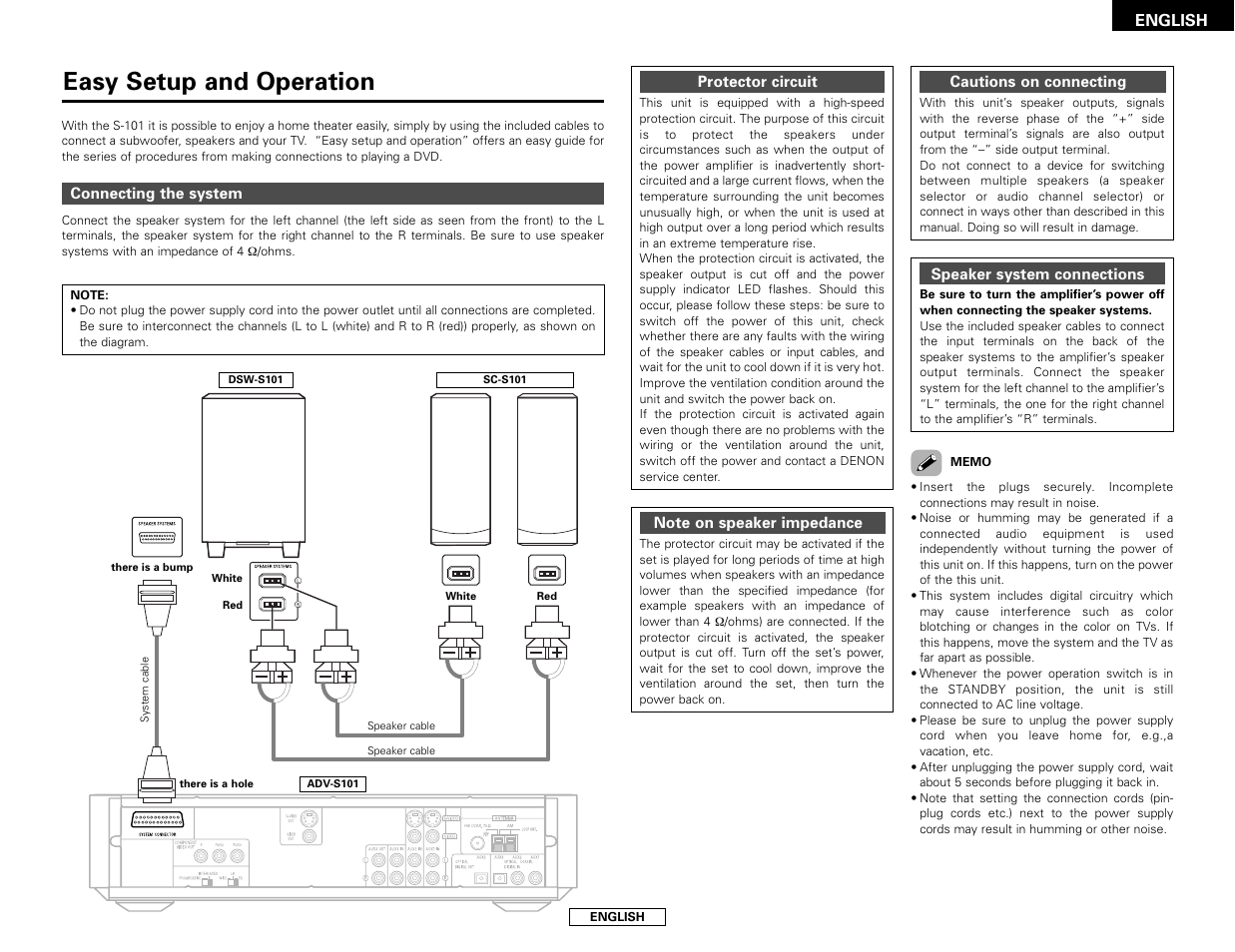 Easy Setup And Operation Denon S 101 User Manual Page 13 138 Series Parallel Wiring On Electrical Multiple Outlets