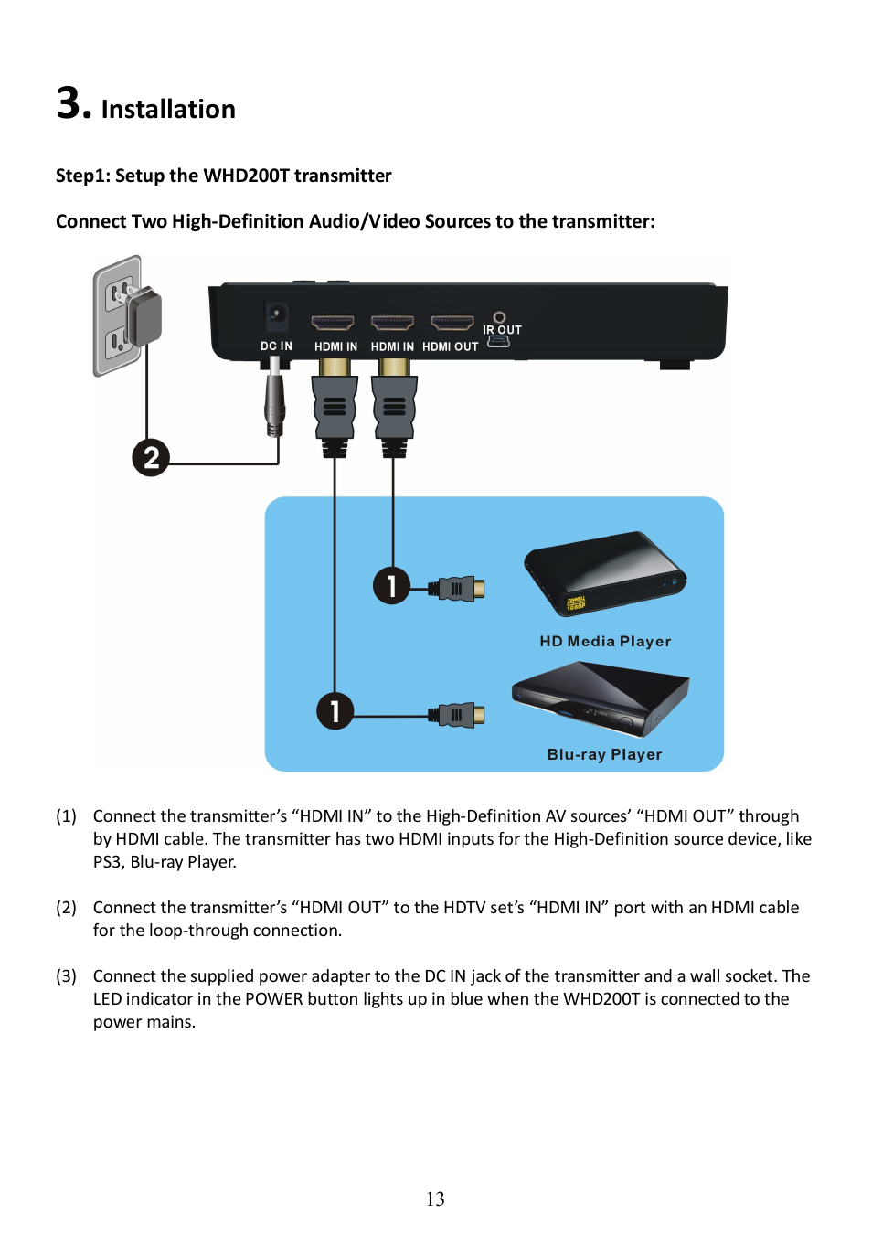 Installation | Optoma WHD200 User Manual | Page 13 / 28