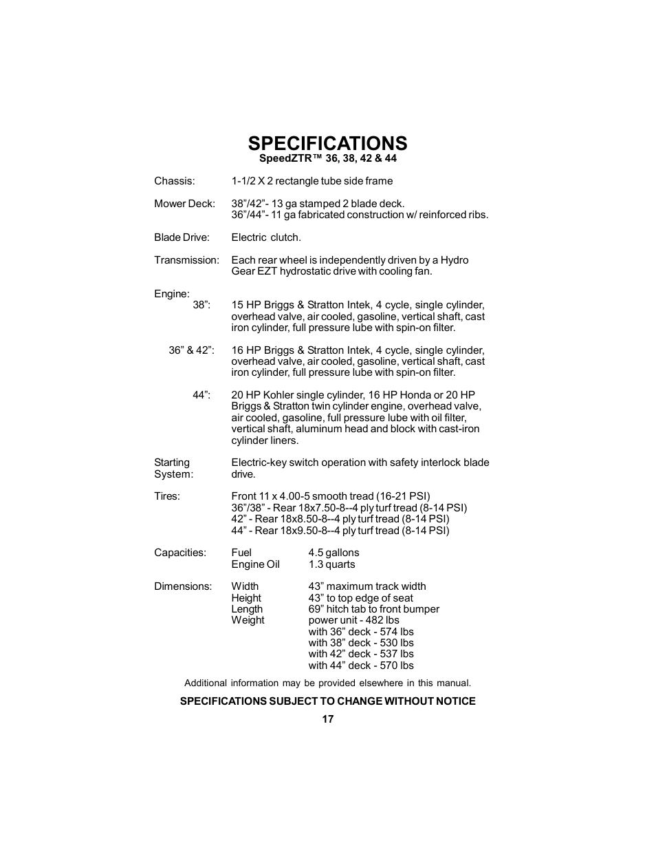 Specifications Dixon Speedztr 36 User Manual Page 17 52 Hp Briggs And Stratton Engine Diagram