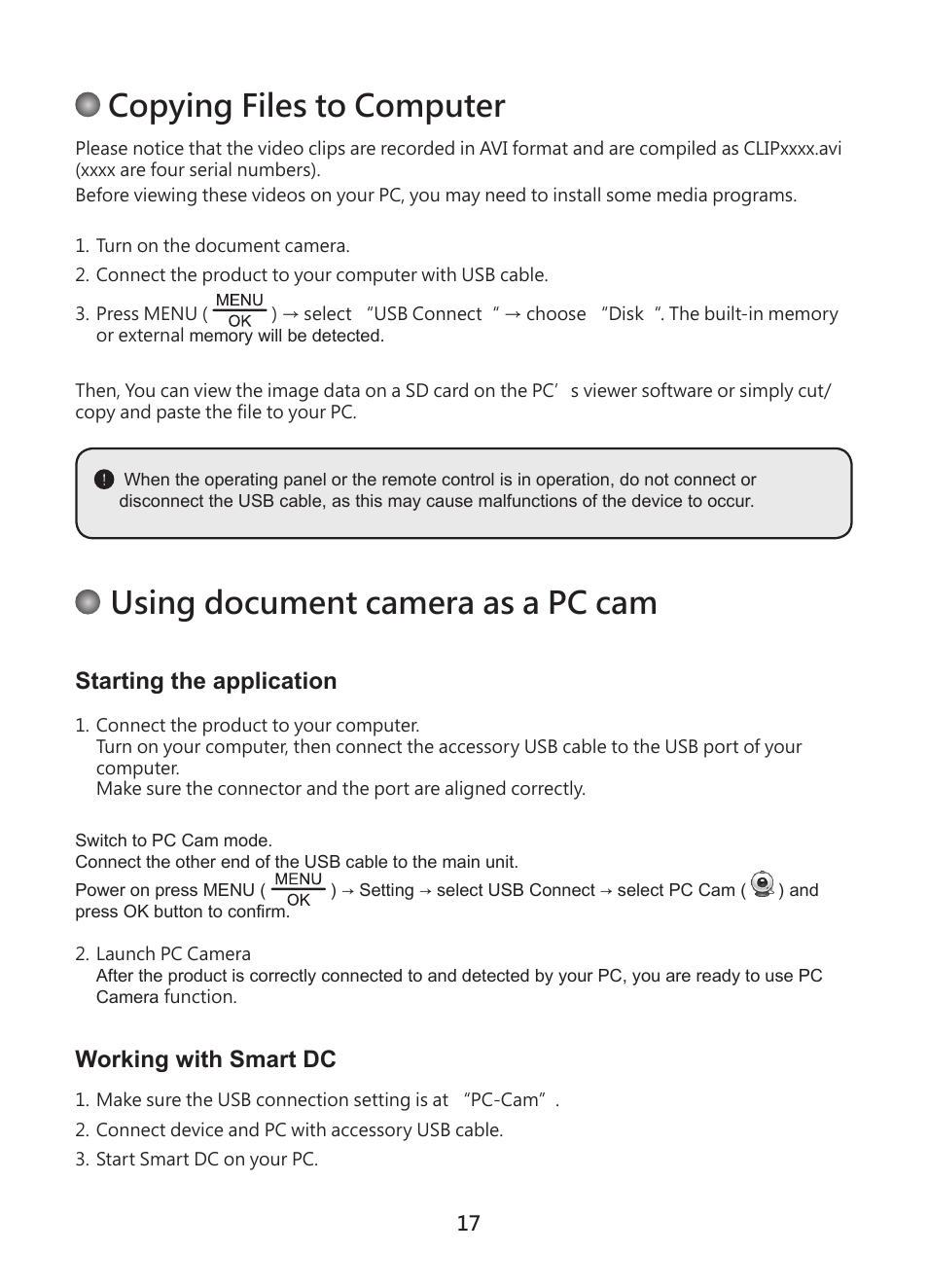 Copying files to computer, Using document camera as a pc cam