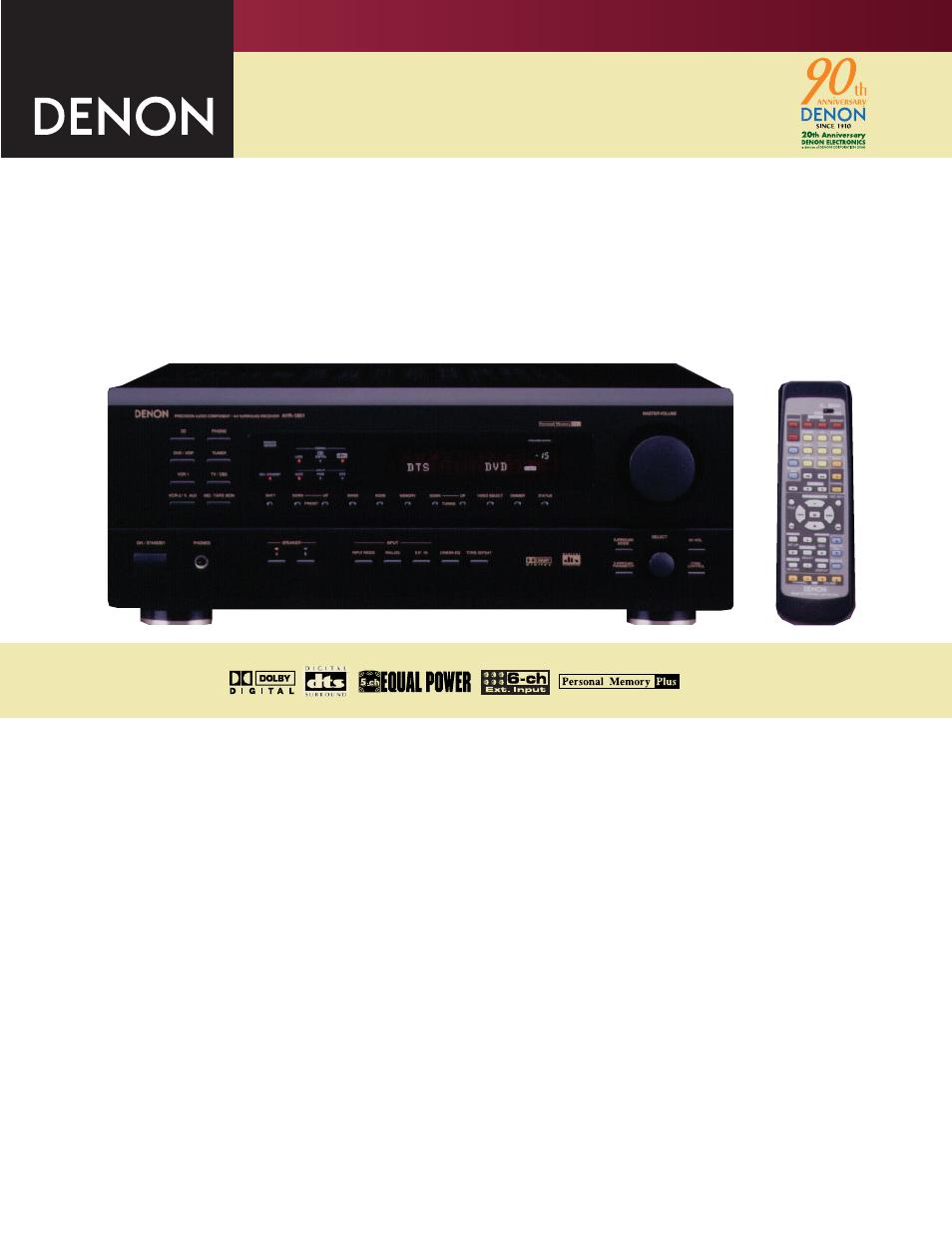 denon avr 1801 user manual 2 pages rh manualsdir com Denon AVR 1801 Specs Denon AVR- 1610