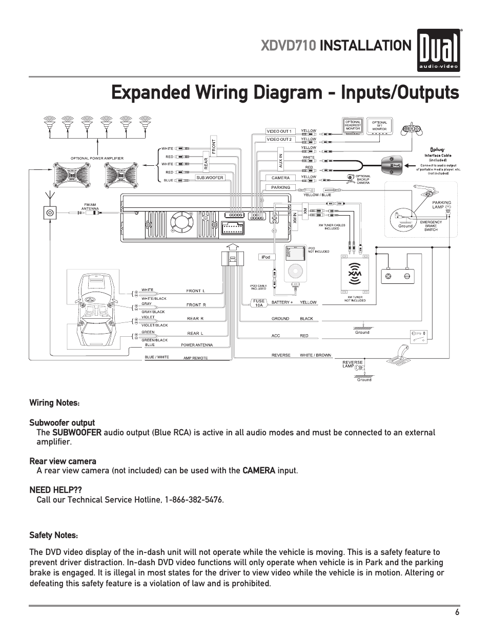 dual xdvd710 page7 expanded wiring diagram inputs outputs, xdvd710 installation wiring diagram for a dual car stereo at eliteediting.co