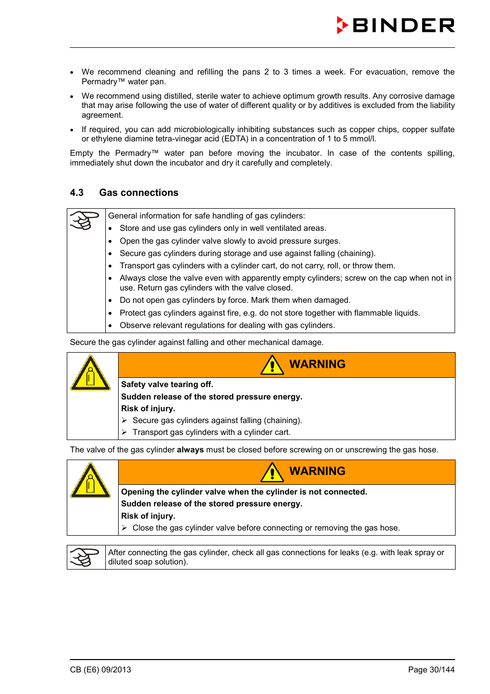 3 gas connections, Warning | BINDER CB 60 User Manual | Page 30 / 145