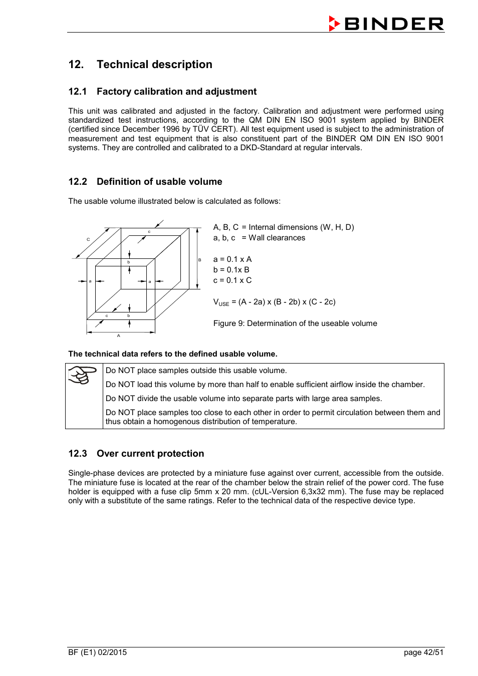 Technical description, 1 factory calibration and adjustment, 2 definition  of usable volume | 3