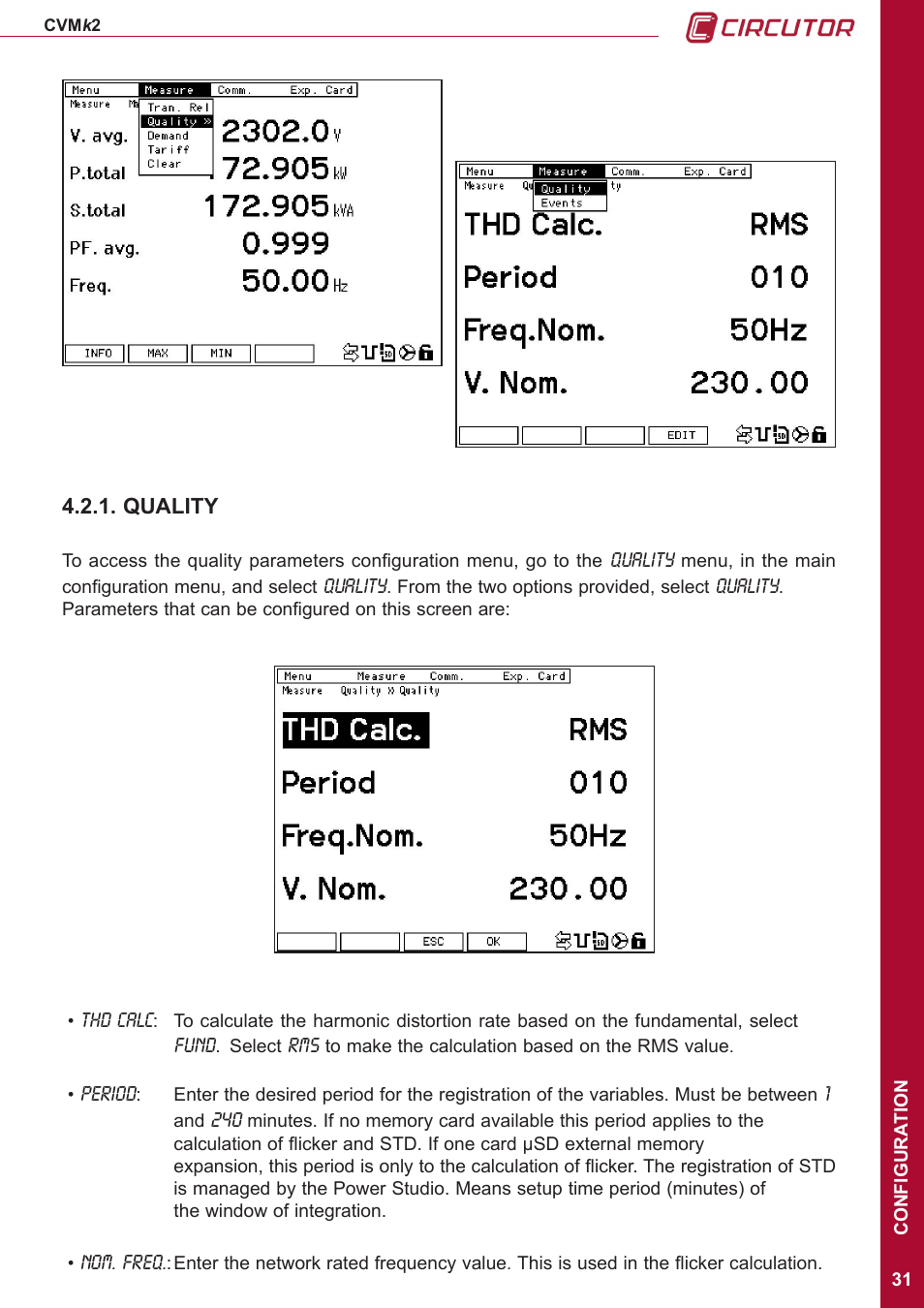 Quality | CIRCUTOR CVMk2 Series User Manual | Page 31 / 152