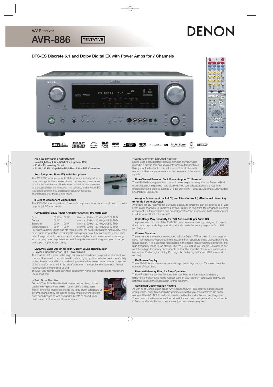 denon avr 886 user manual 2 pages rh manualsdir com denon avr 889 manual AVR Denon X4100w