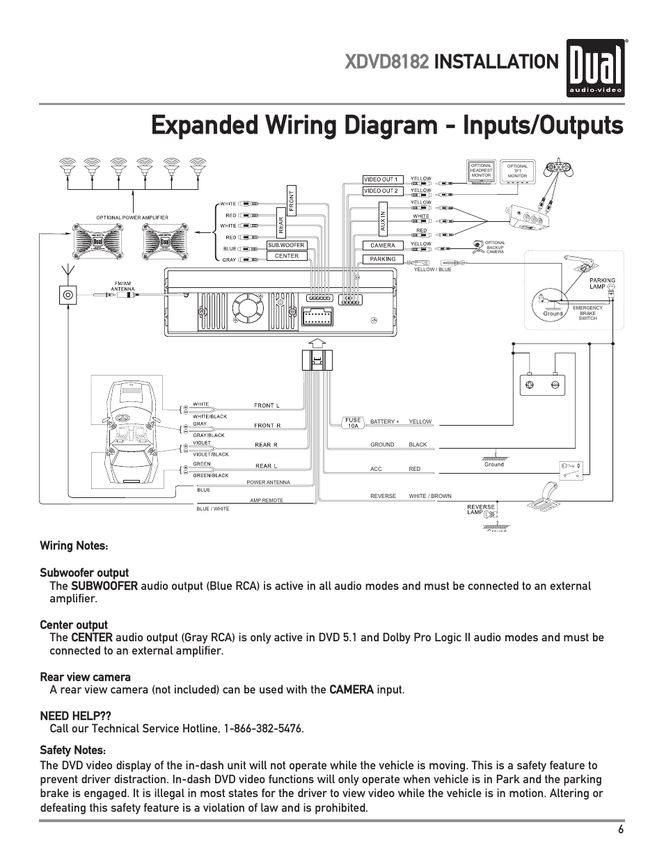 Expanded Wiring Diagram Inputs Outputs Xdvd8182 Installation Input Output Dual User Manual Page 7 60