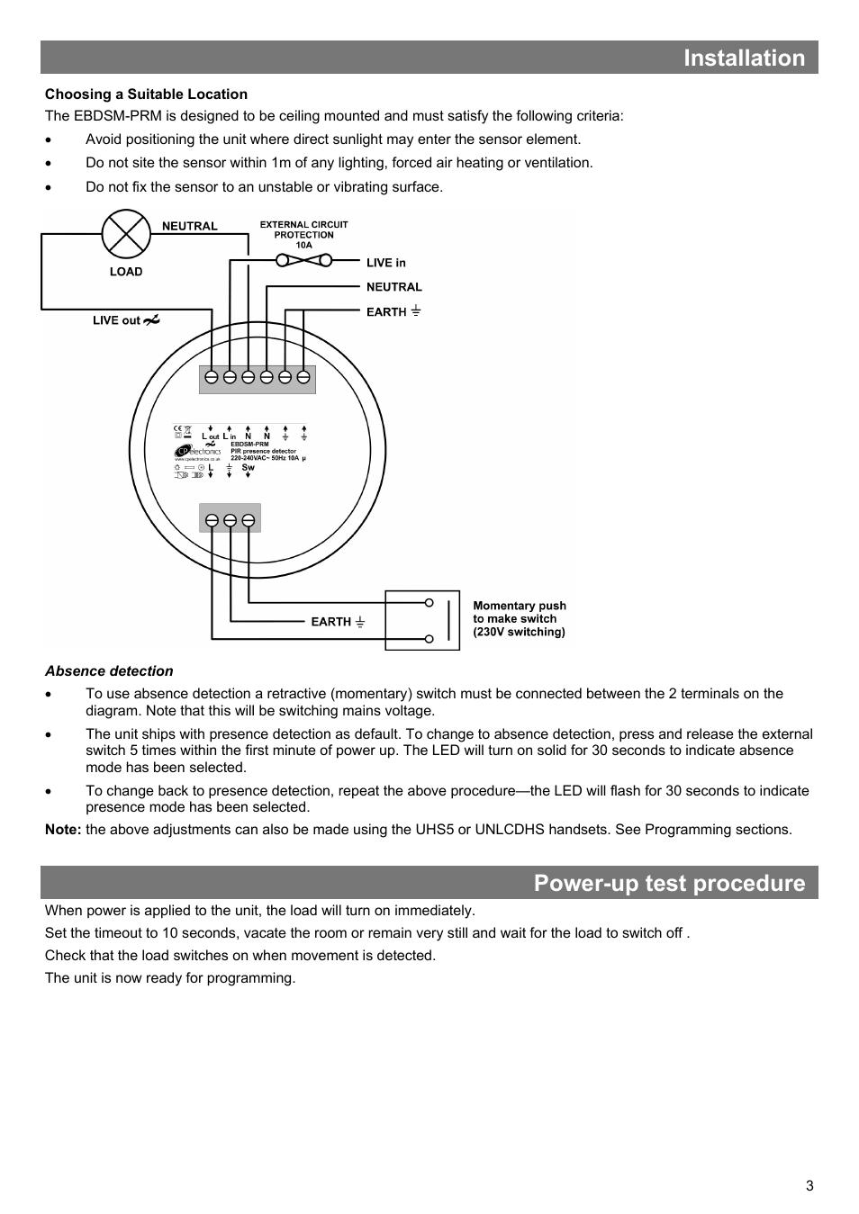 Installation Power Up Test Procedure Cp Electronics Ebdsm Prm Live Line Detector Circuit User Manual Page 3 8