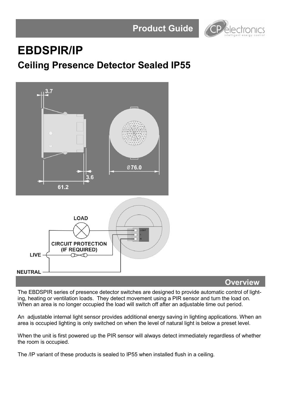 Cp Electronics Ebdspir Ip User Manual 4 Pages Live Line Detector Circuit