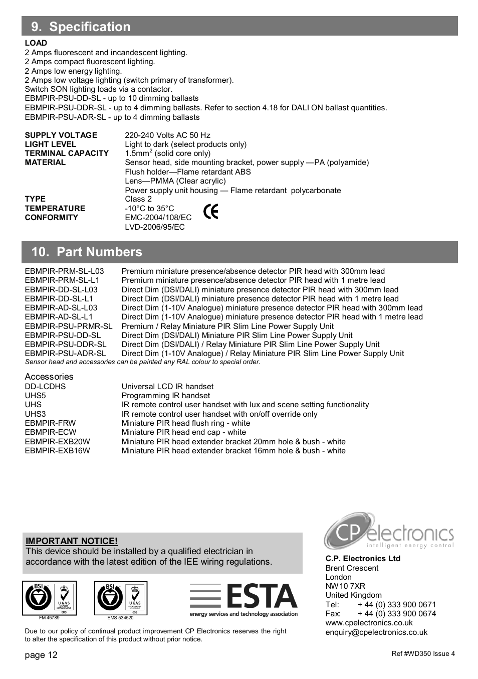 Part Numbers 9 Specification Cp Electronics Eir Slim Line Iee Wiring Regulation Psu User Manual Page 12