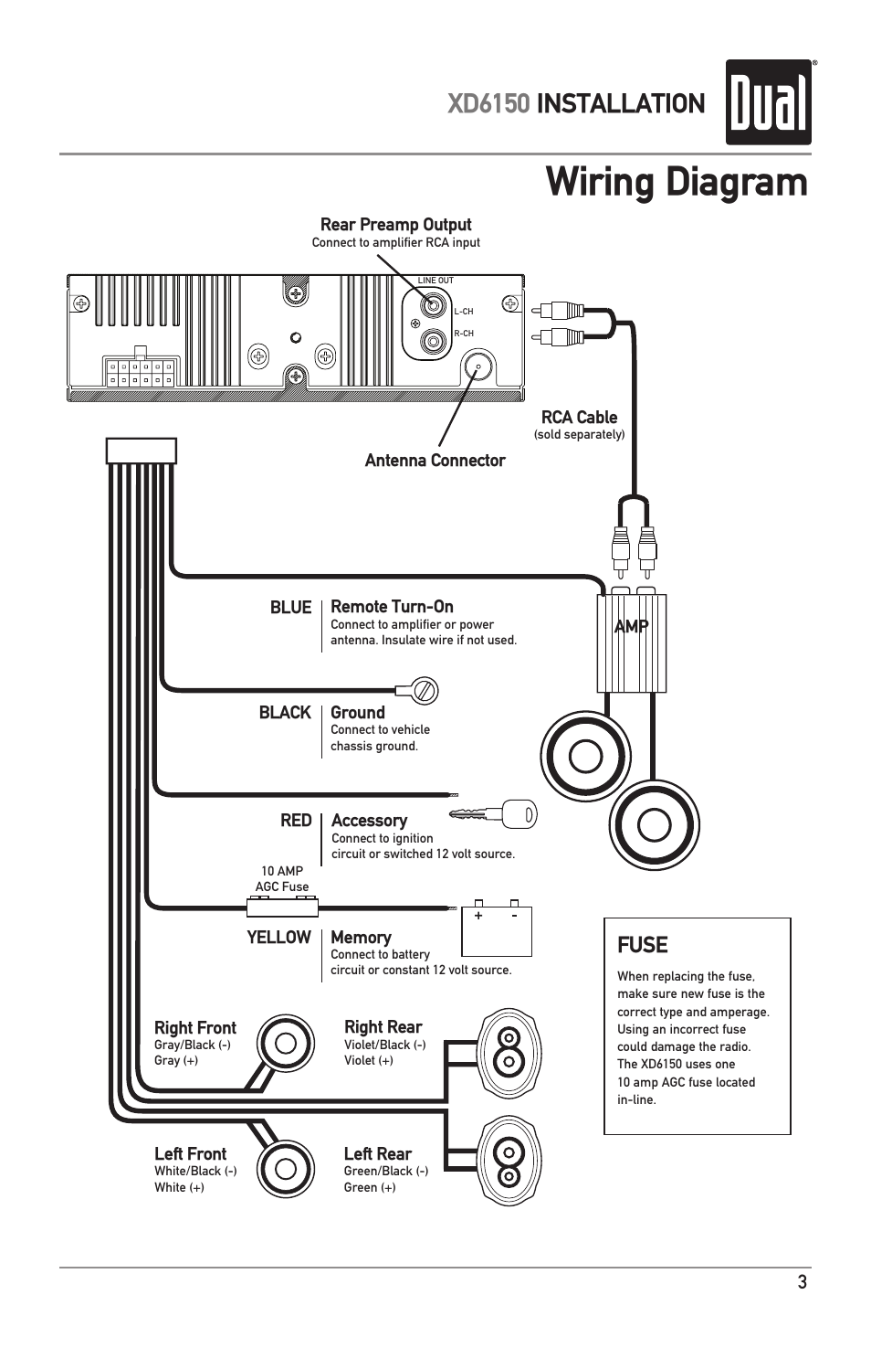 wiring diagram, xd6150 installation, fuse dual xd6150 user manual 24 Volt Wiring Diagram