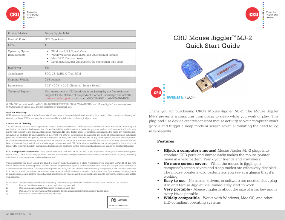 CRU Mouse Jiggler User Manual   2 pages