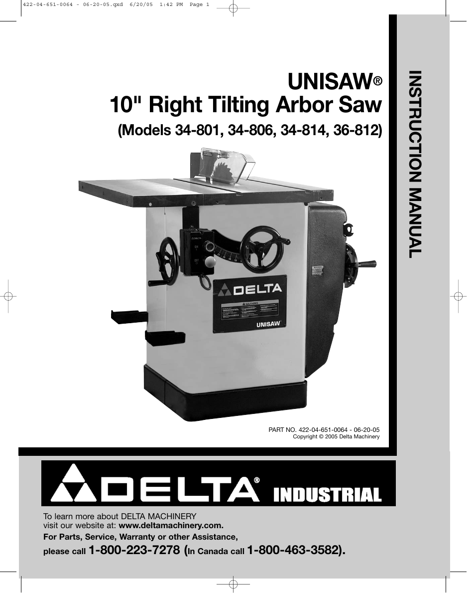 Delta UNISAW 34-814 User Manual | 28 pages | Also for: UNISAW 34-806