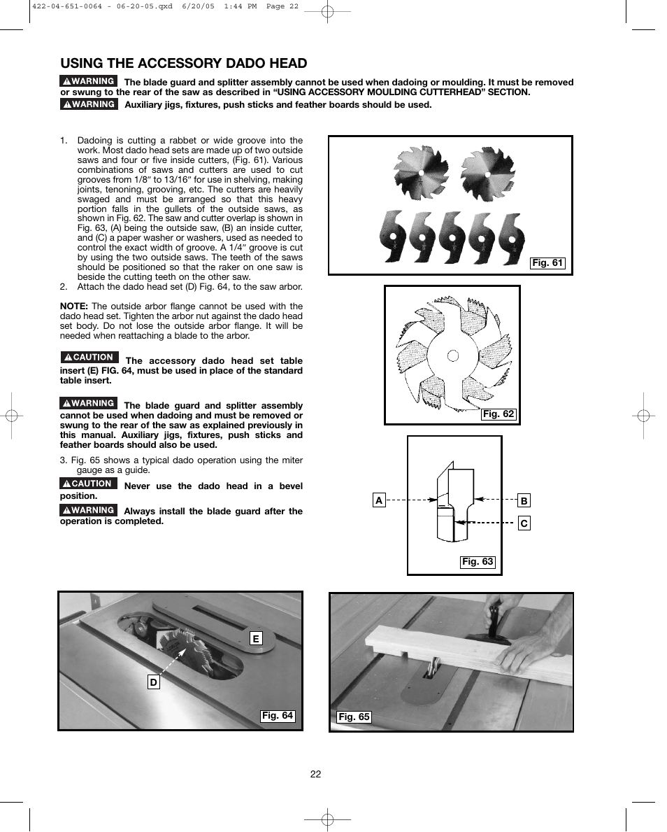 Using the accessory dado head | Delta UNISAW 34-814 User Manual | Page 22