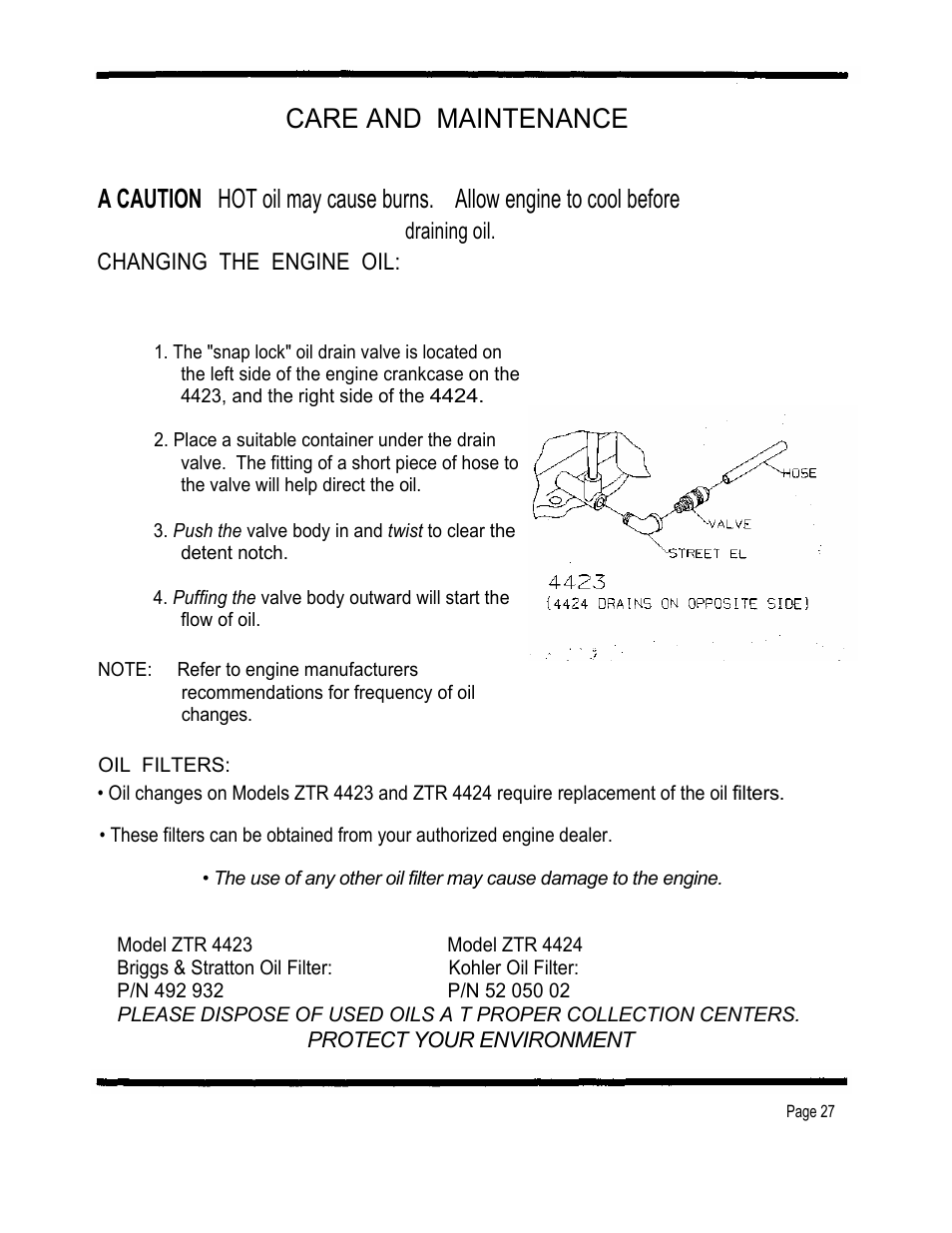 Care and maintenance, Draining oil. changing the engine oil | Dixon 4000  Series User Manual | Page 28 / 38
