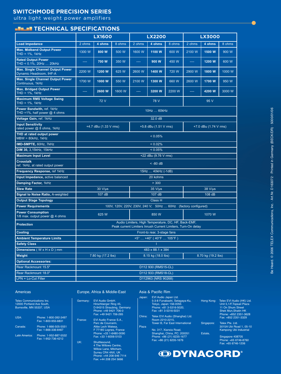 Switchmode precision series, Technical specifications, Ultra light weight  power amplifiers | Dynacord LX3000 User Manual | Page 4 / 4