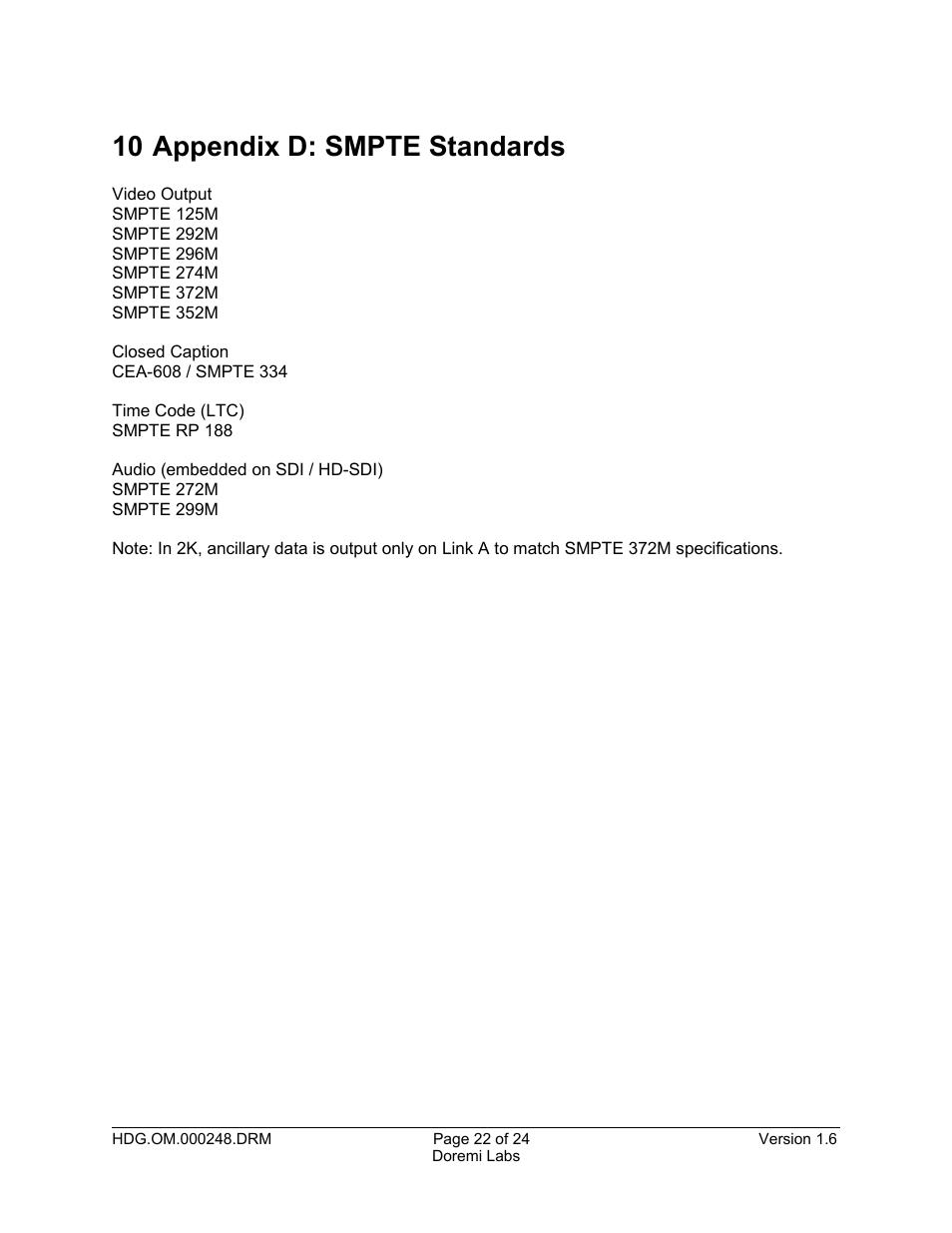 10 appendix d: smpte standards...