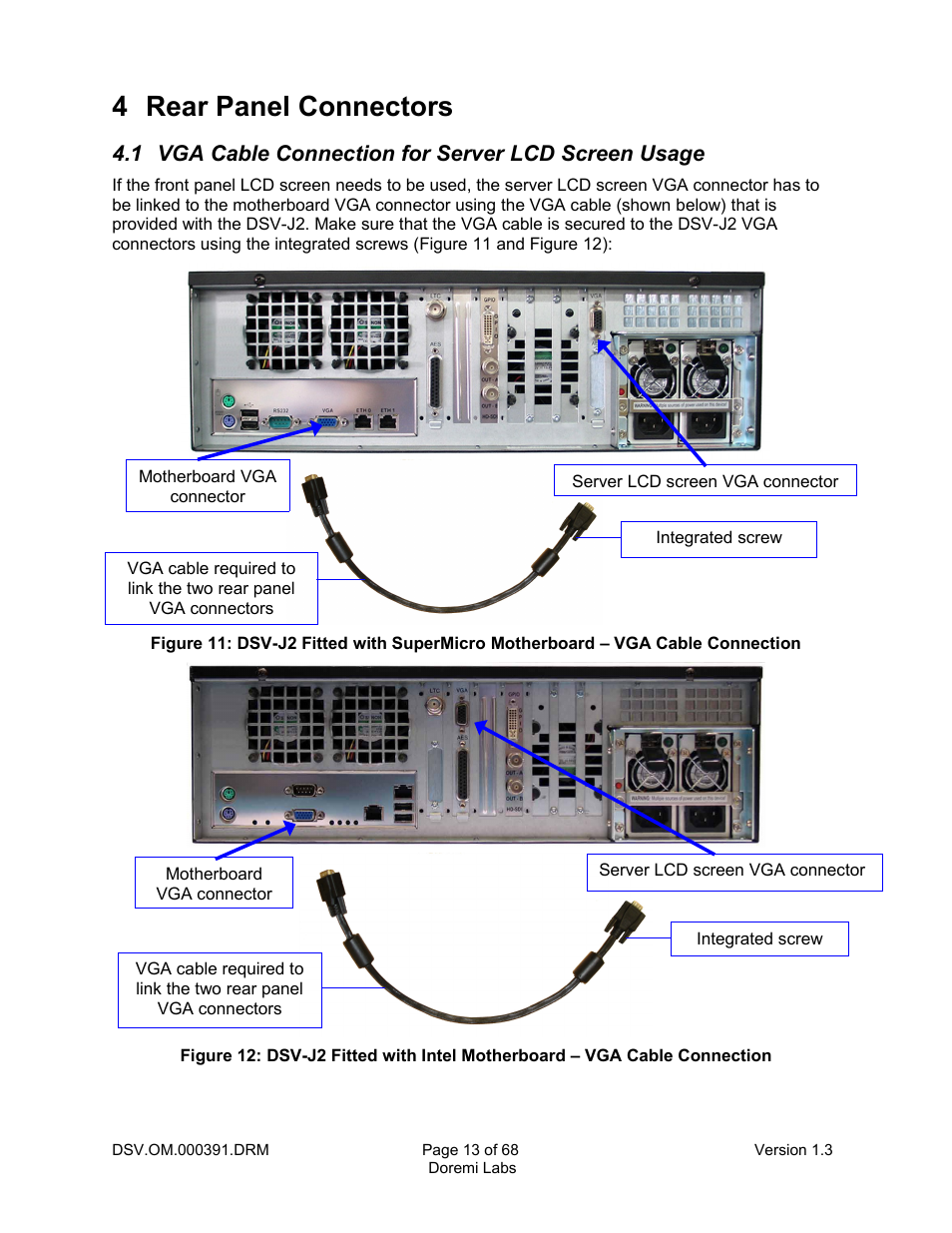 4 Rear Panel Connectors 1 Vga Cable Connection For Server Lcd Wiring Screen Usage Doremi Dsv J2 User Manual Page 13 68