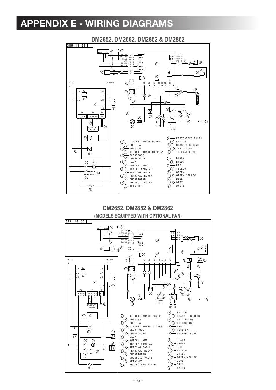 Appendix E Wiring Diagrams Models Equipped With Optional Fan Thermostate Switch And Solenoid Diagram Dometic Dm2862 User Manual Page 35 40