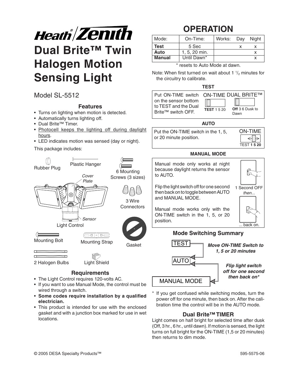 Desa Sl 5512 User Manual 12 Pages Dawn Motion Sensor Wiring Diagram Further Light