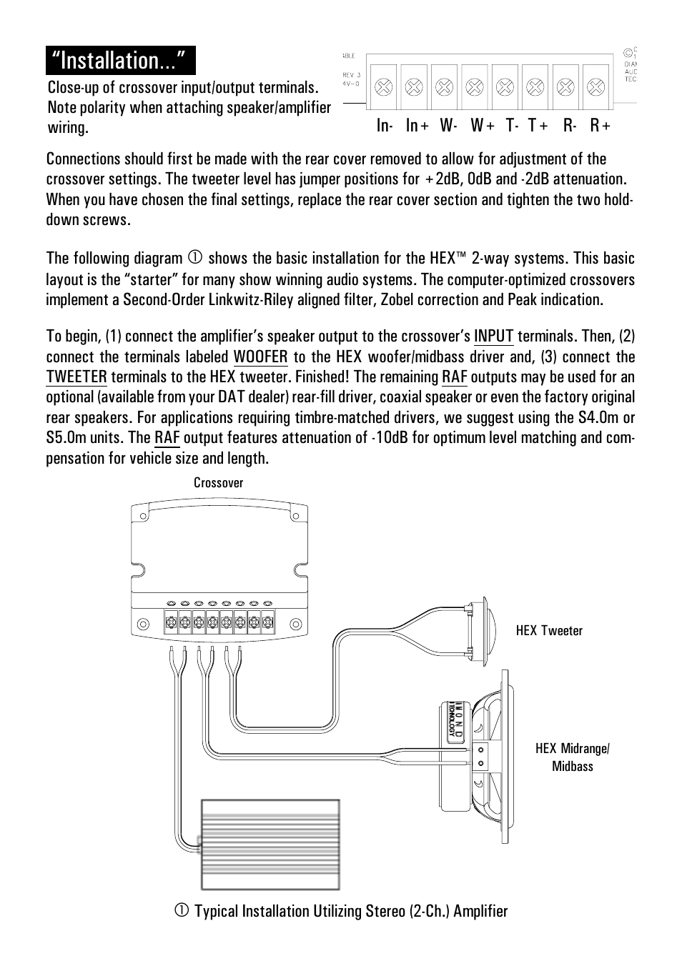 Installation In W T R Diamond Audio Technology With 2 Way Speaker Crossover Wiring Diagram S400 User Manual Page 6 16