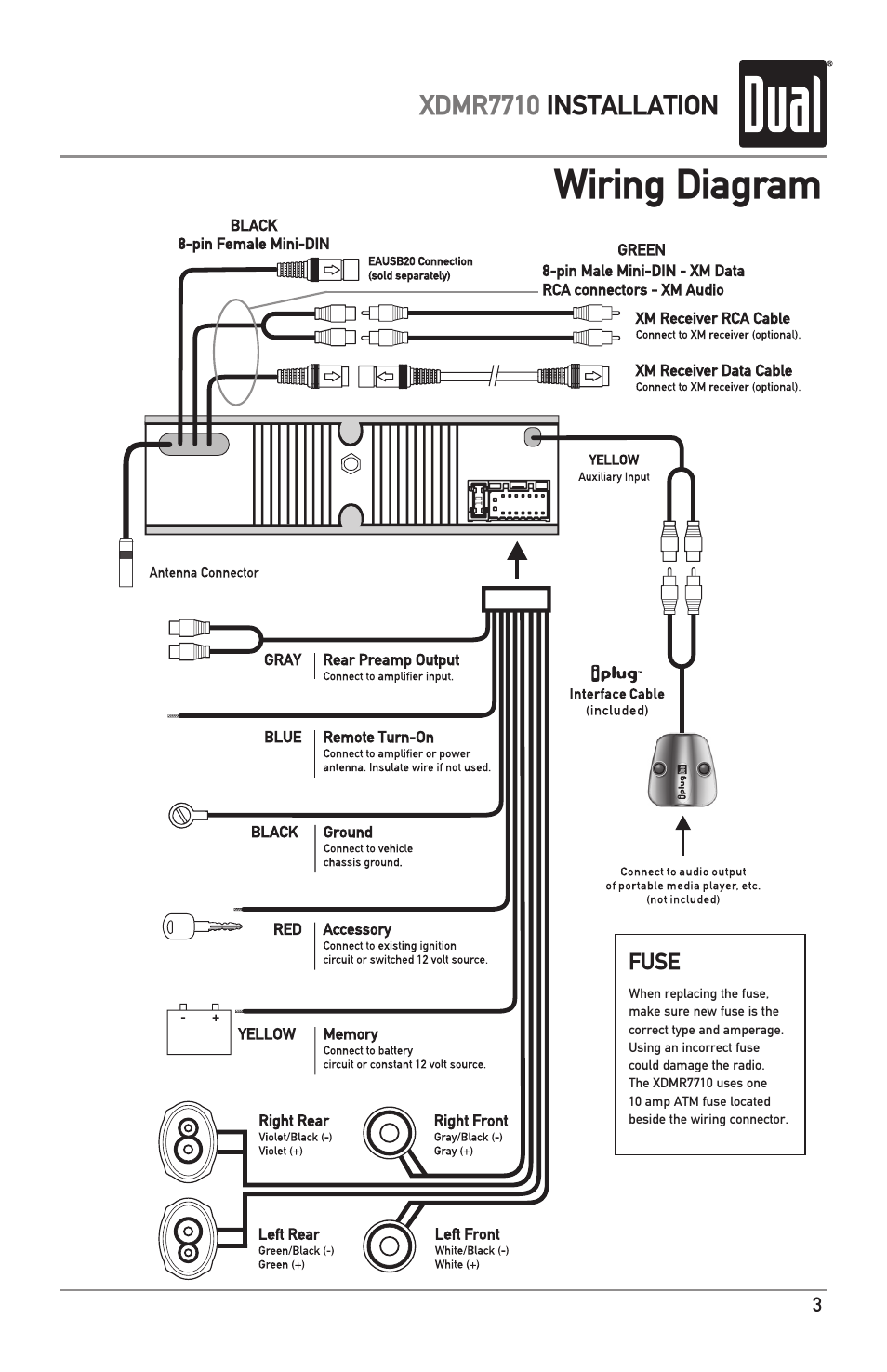 Wiring diagram | Dual IPLUG XDMR7710 User Manual | Page 3 / 24