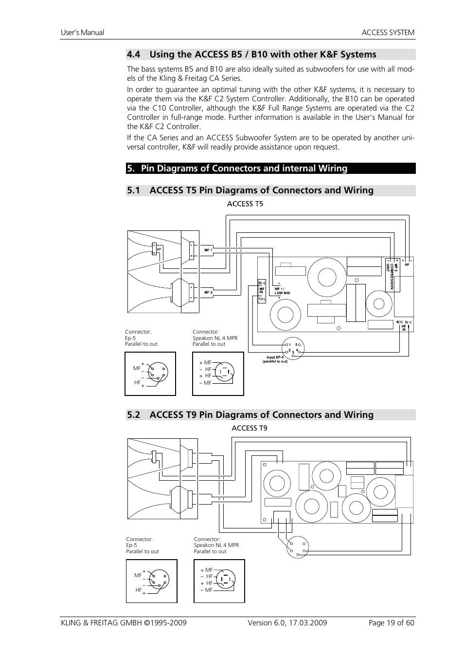 kling freitag kf access t9 page19 4 using the access b5 b10 with other k&f systems, 5 pin diagrams