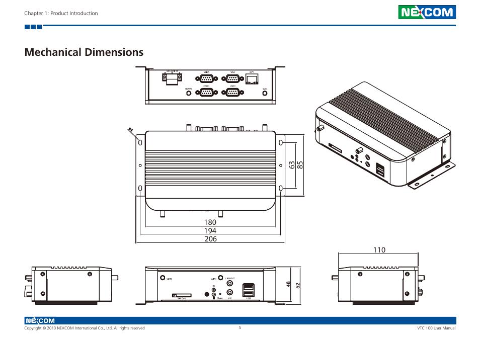 Mechanical dimensions nexcom user manual page png 954x672 Vtc 100 7682a74c6181