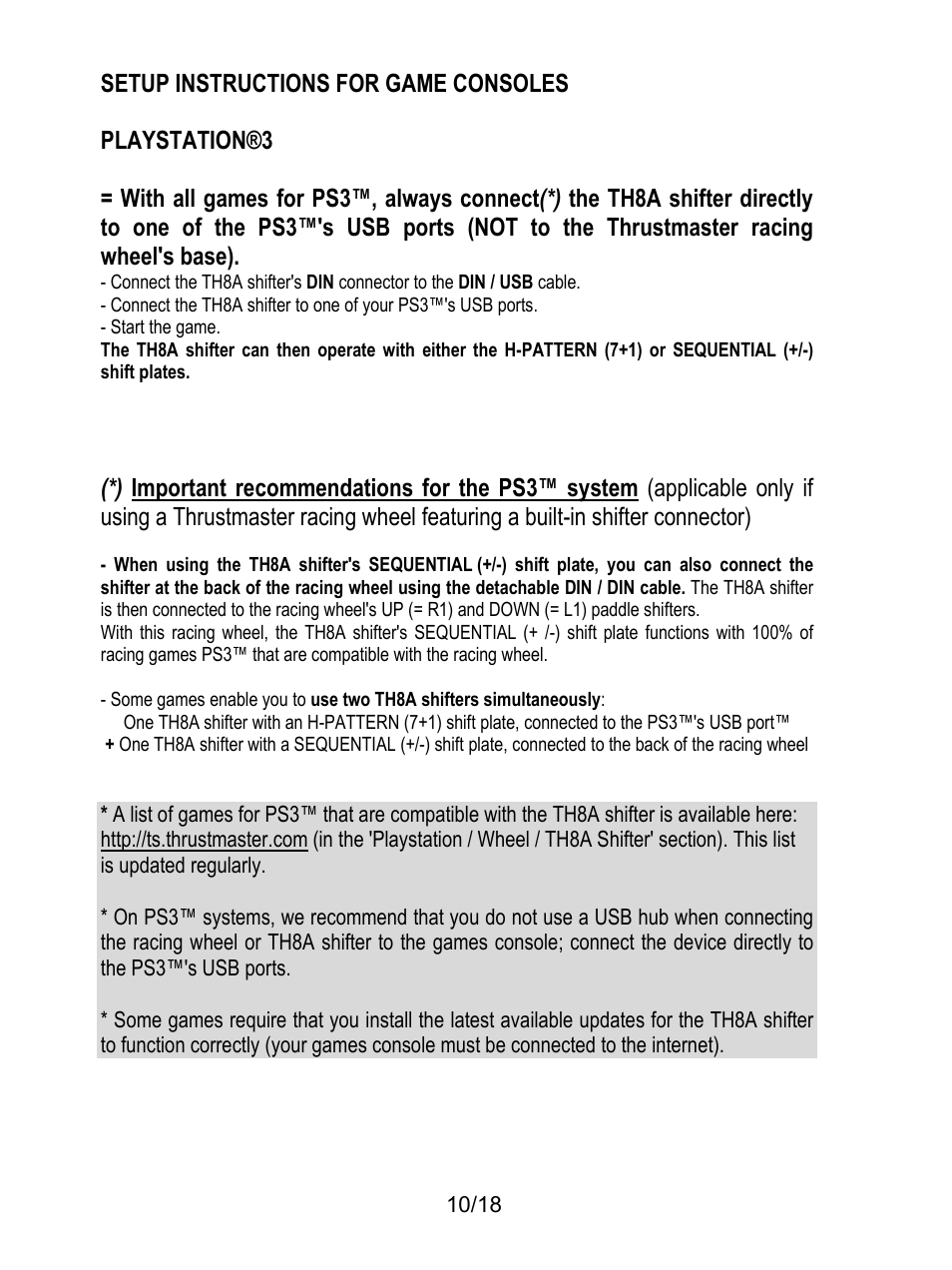 Setup instructions for game consoles, Playstation®3, Start