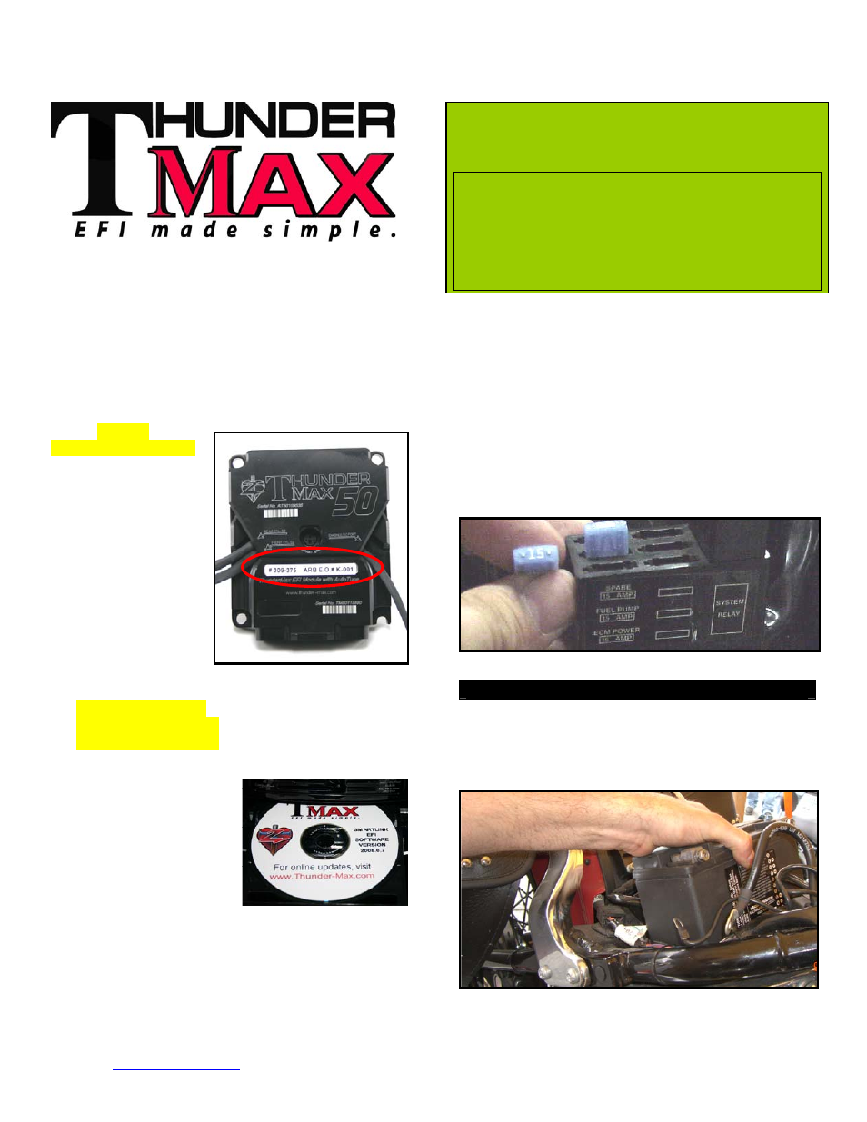 Thundermax Models W 96engine Arb Eo K 001 User Manual 7 Pages Fuse Box On Motorcycle Also For 1 2
