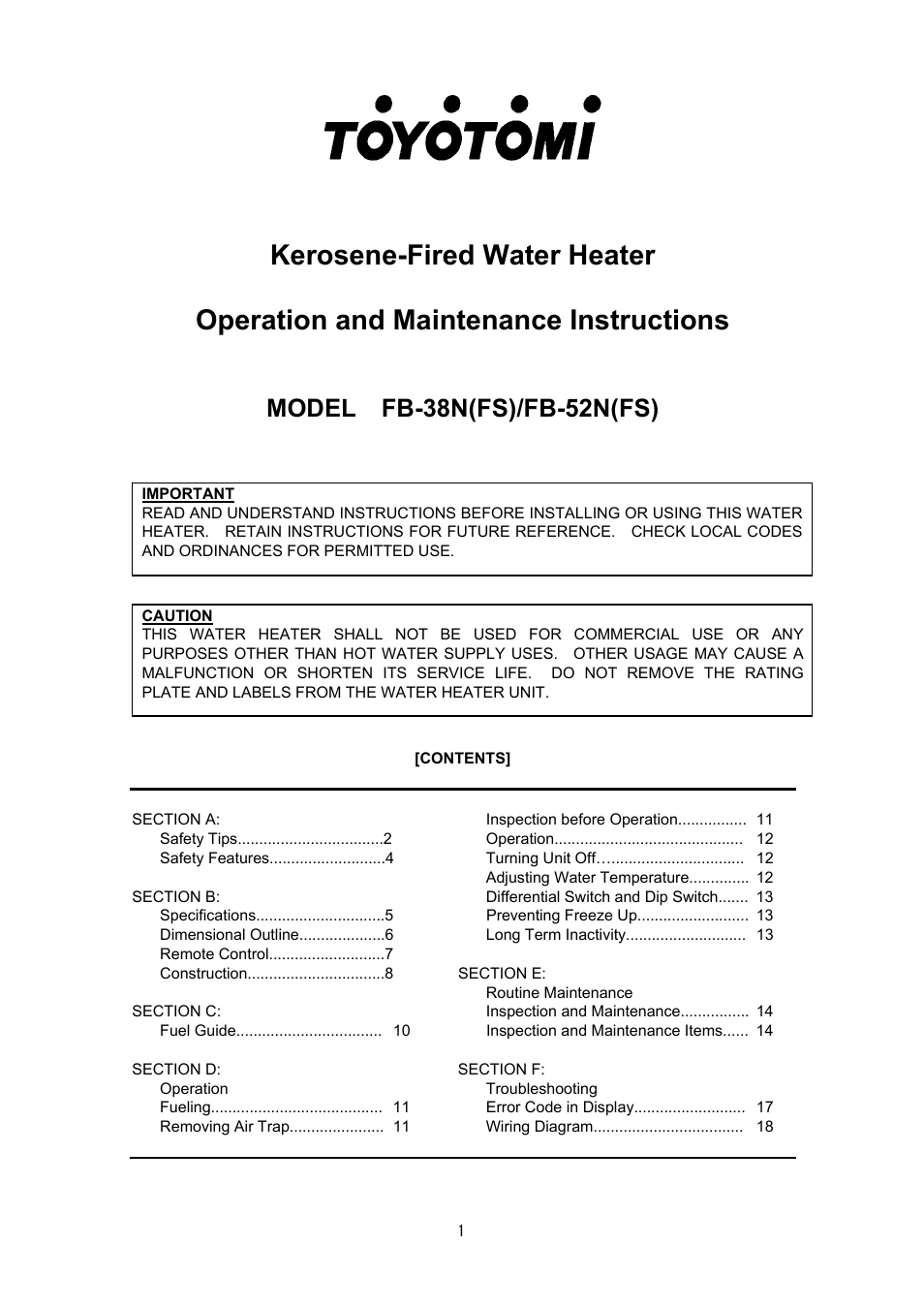 Toyotomi Water Heater Service Manual Best Water Heater 2018
