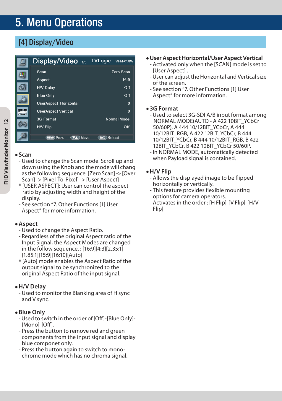 Menu operations, 4] display/video | TVLogic VFM-058W User