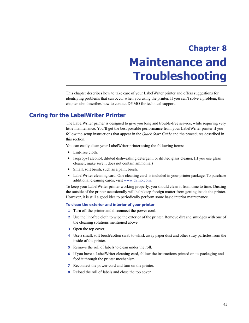 Maintenance and troubleshooting, Caring for the labelwriter