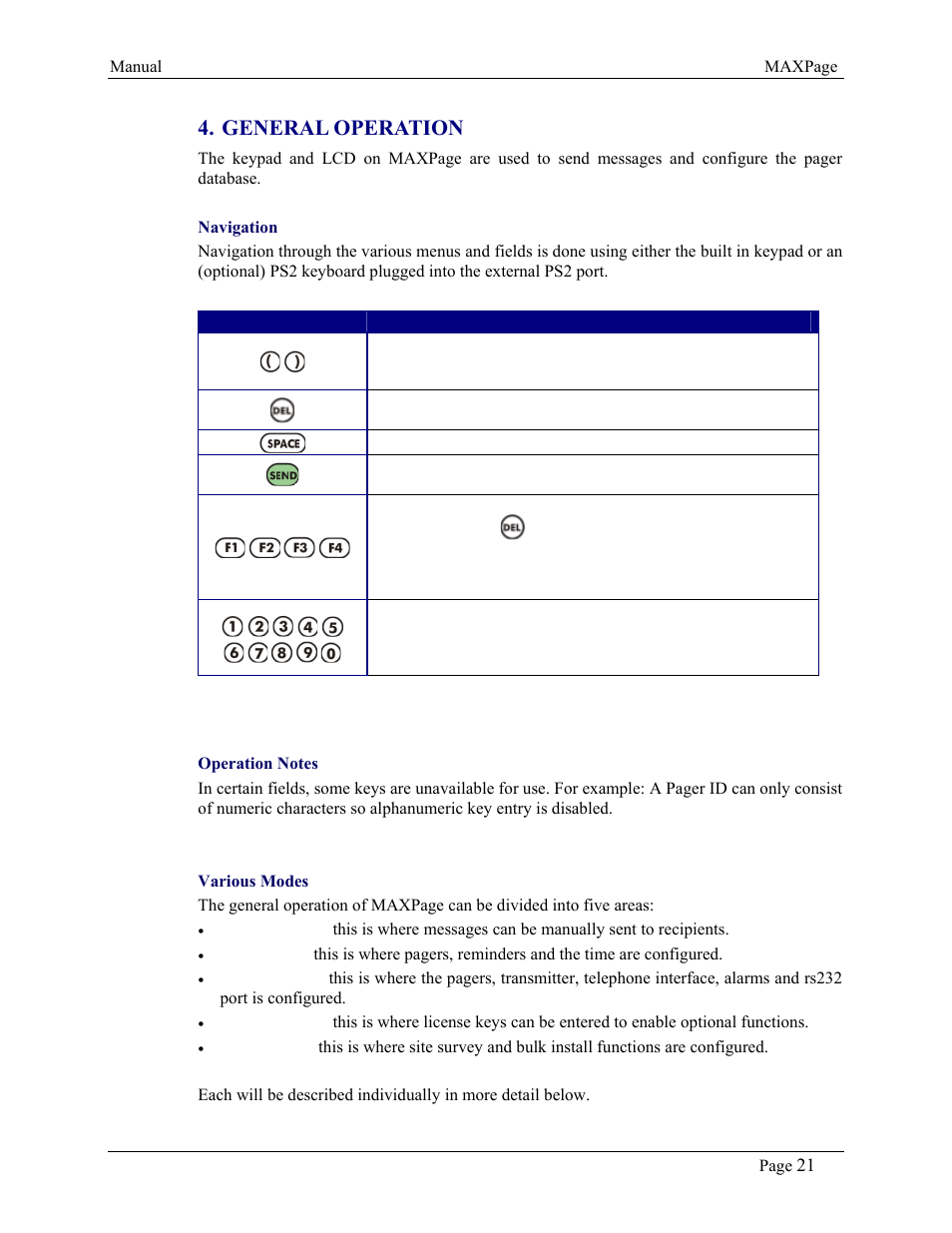 General operation | WaveWare CommTech MaxPage User Manual