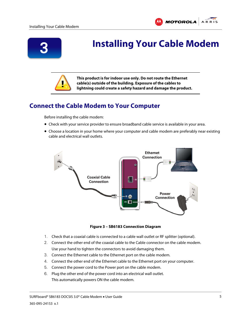 Connect the cable modem to your computer, Installing your cable modem,  Figure 3 – sb6183 connection diagram | ARRIS SB6183 User Guide User Manual  | Page 11 ...