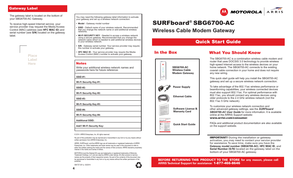 ARRIS SBG6700 Quick Start Guide User Manual | 2 pages