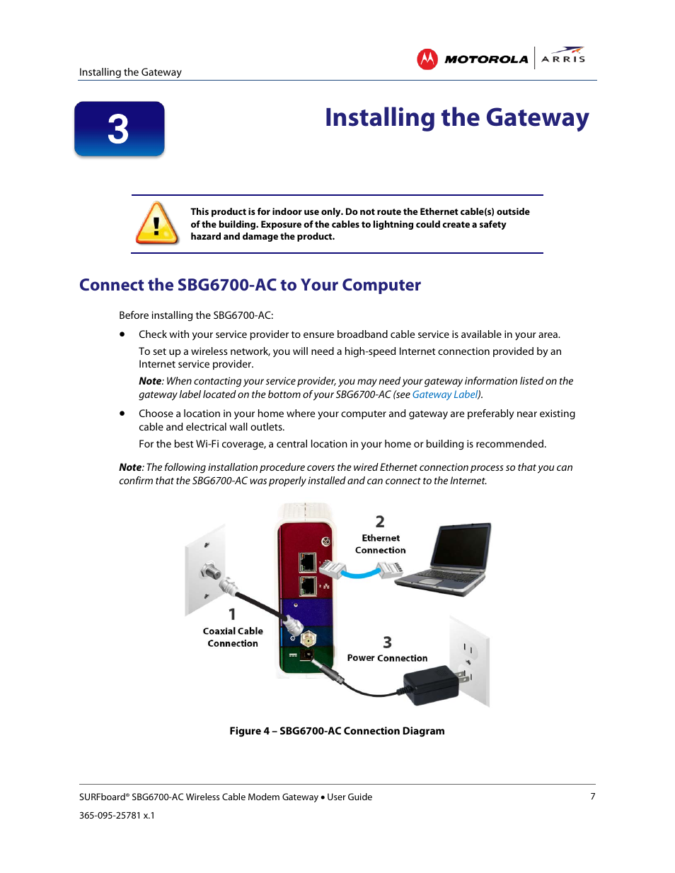 Installing the gateway, Connect the sbg6700-ac to your computer ...