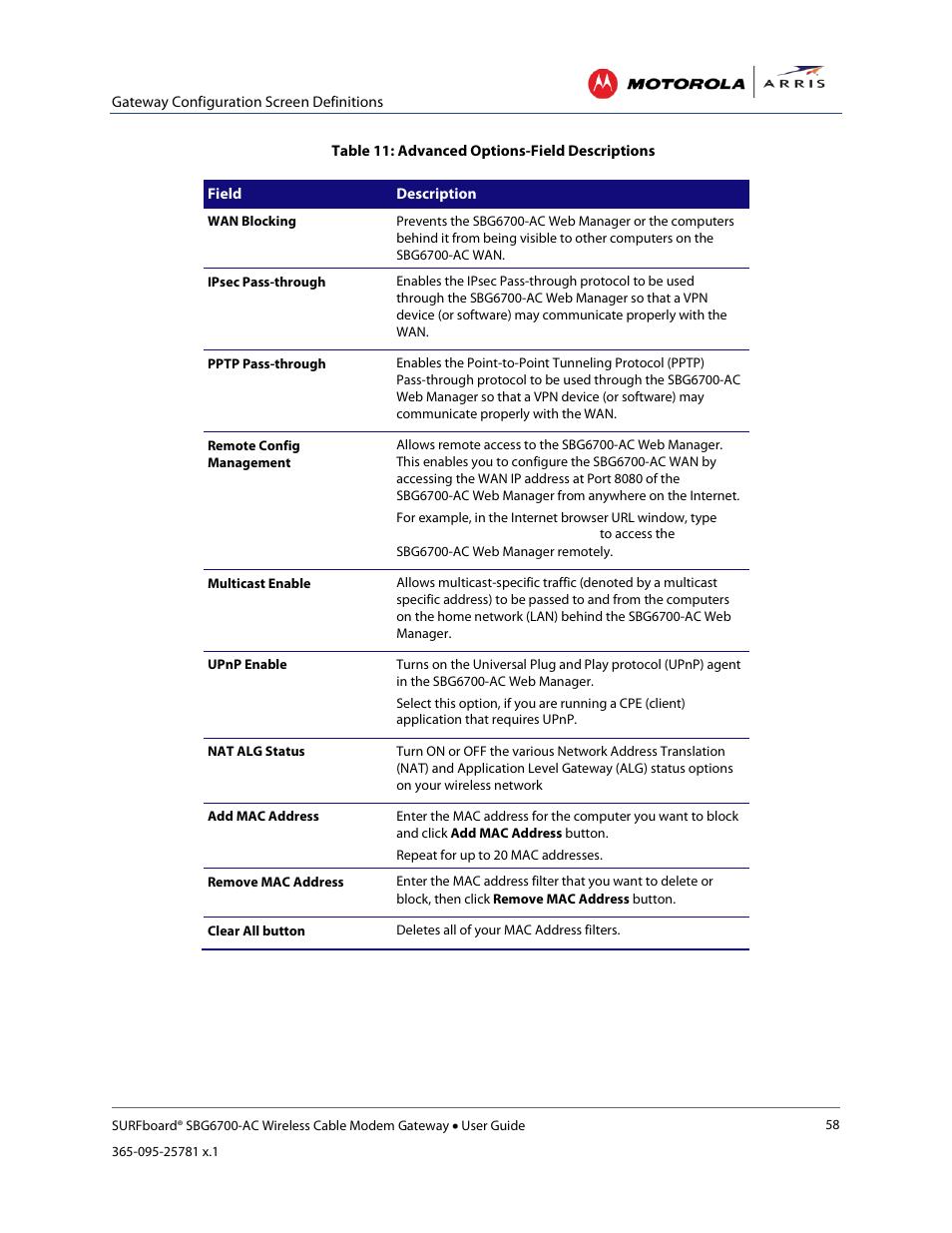 Port forwarding, Dmz host   ARRIS SBG6700 User Guide User Manual