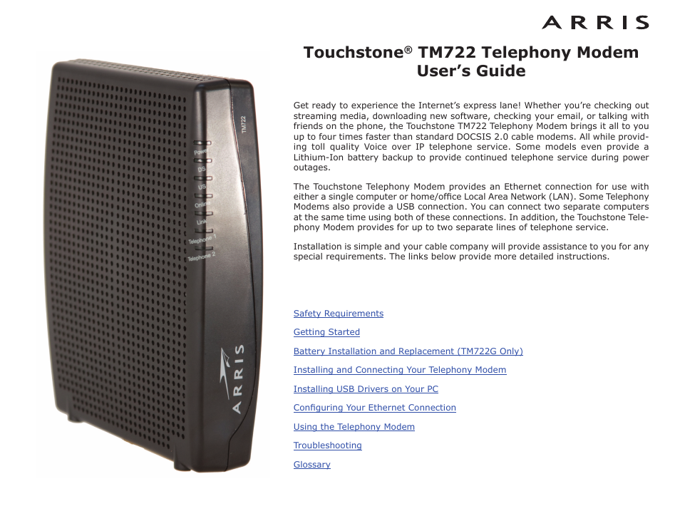 arris tm722g-ct user guide user manual | 73 pages | also for: tm601