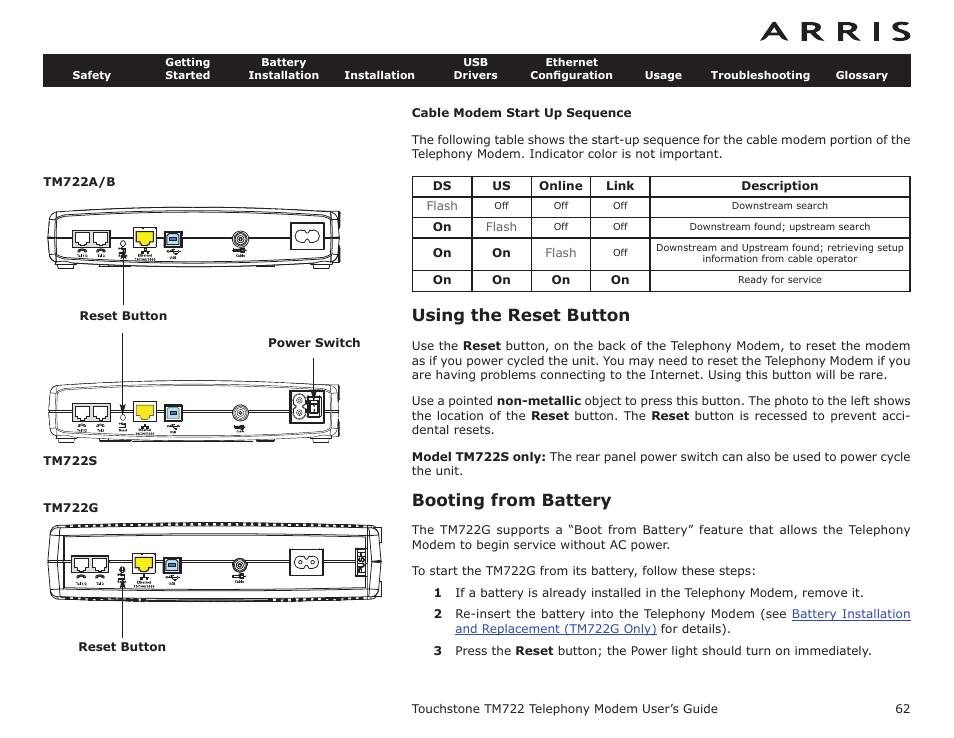 cable modem start up sequence using the reset button booting from rh manualsdir com Arris TM822G Arris Tm822a