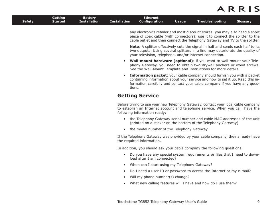 Arris Tg852g Manual Guide