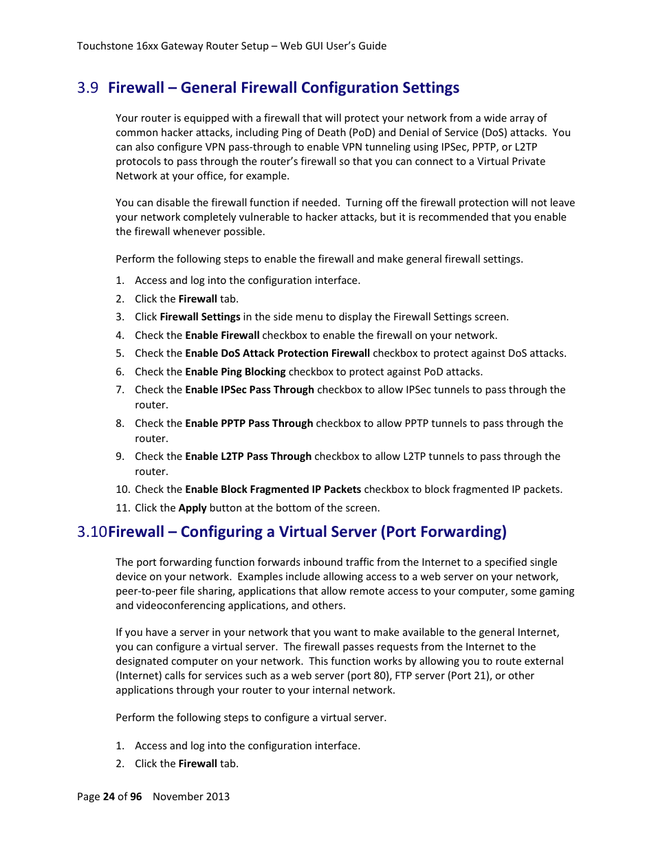 Firewall U2013 General Firewall Configuration Settings Manual Guide