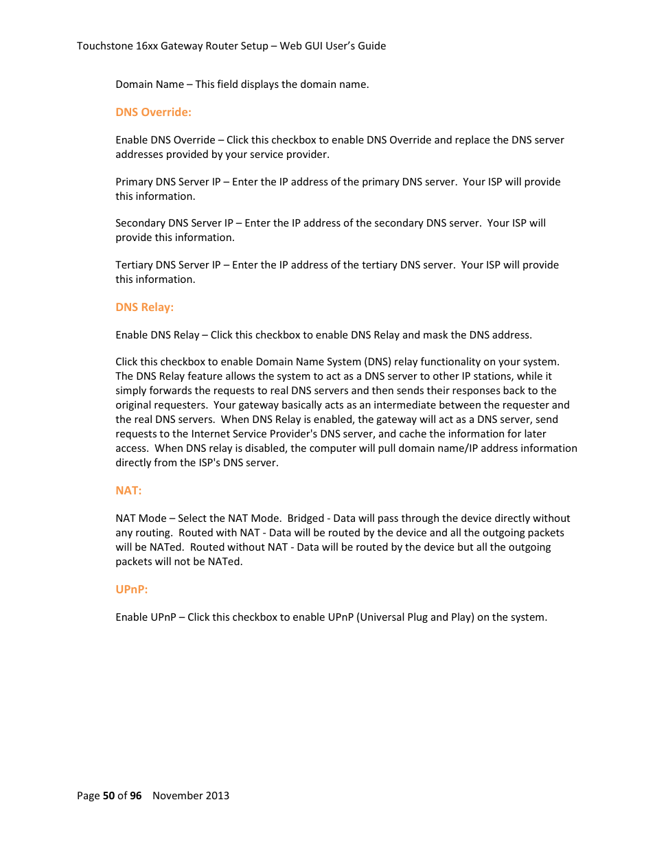 ARRIS TG1672G-NA Web GUI User Guide User Manual | Page 50 / 96