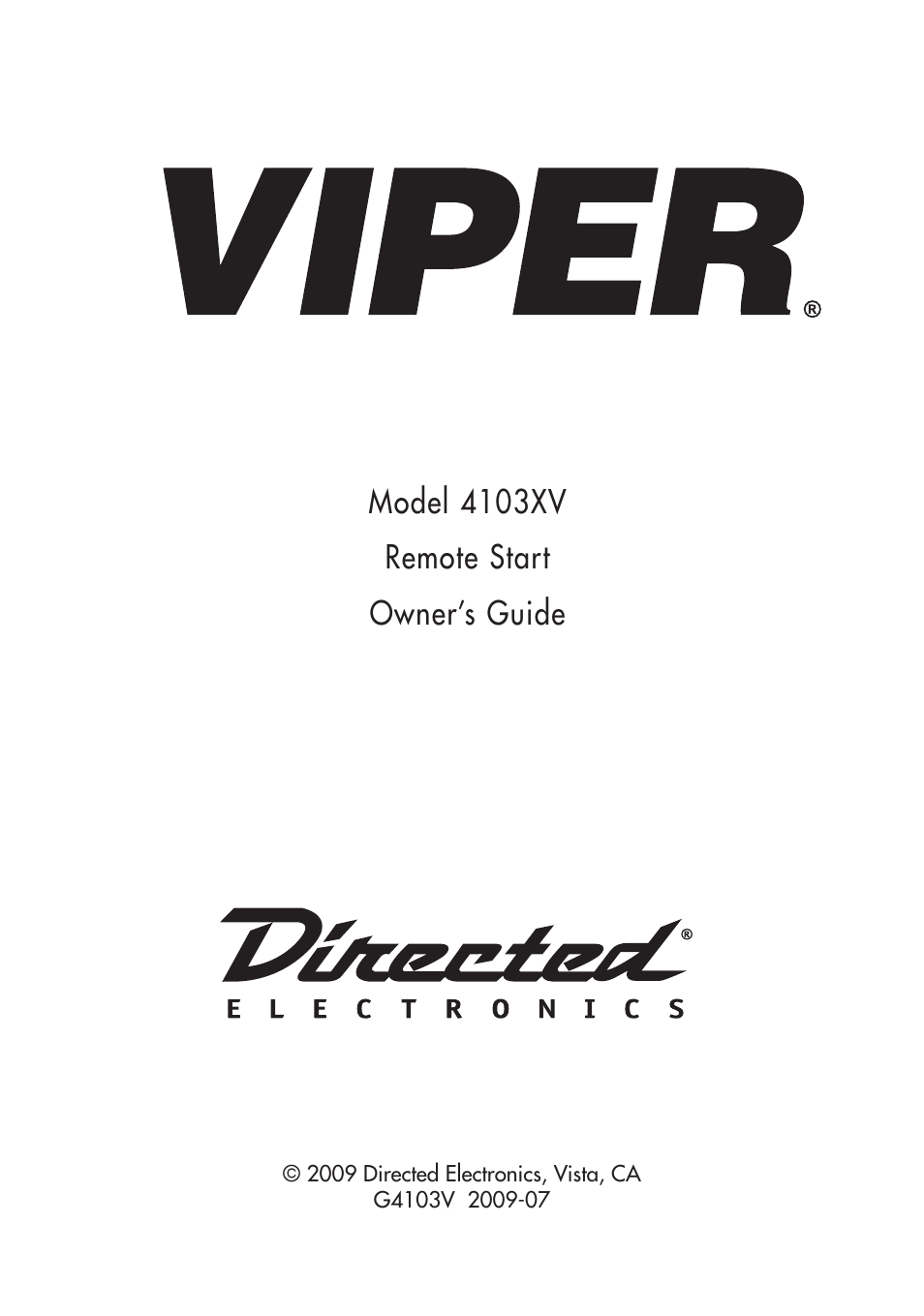 directed electronics viper 4103xv user manual