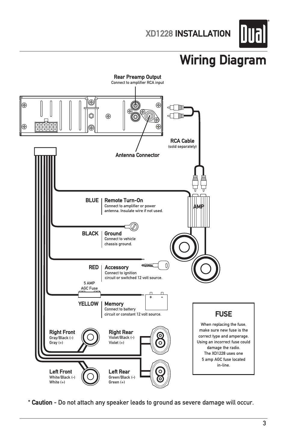 Wiring diagram, Xd1228 installation, Fuse | Dual XD1228 User Manual | Page  3 / 12