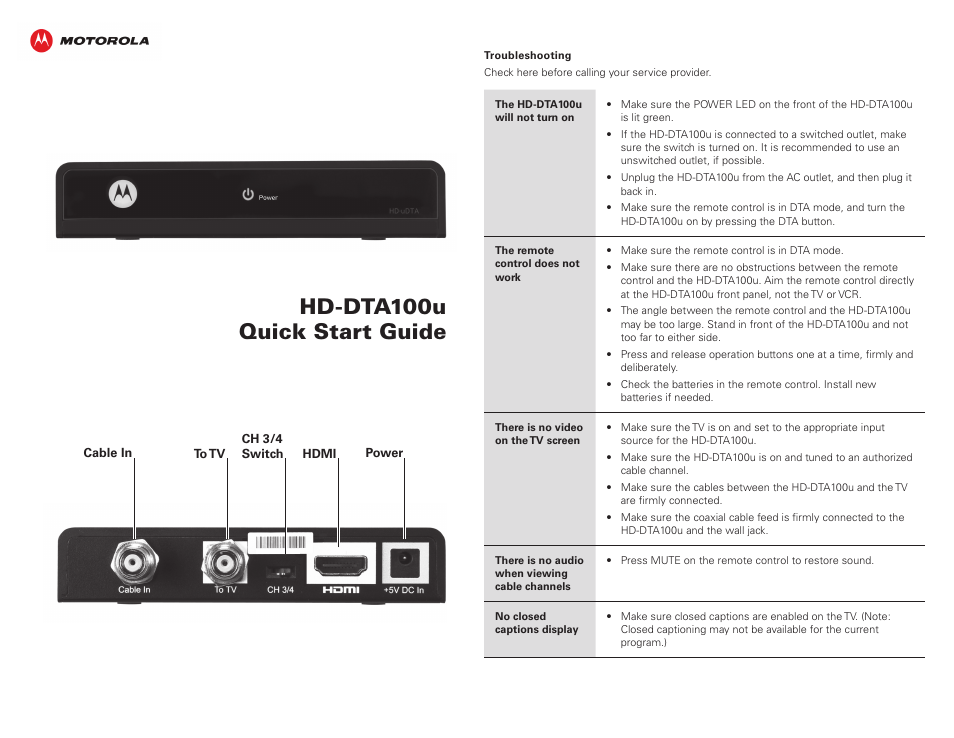 ARRIS HD-DTA100u Quick Start Guide User Manual | 2 pages