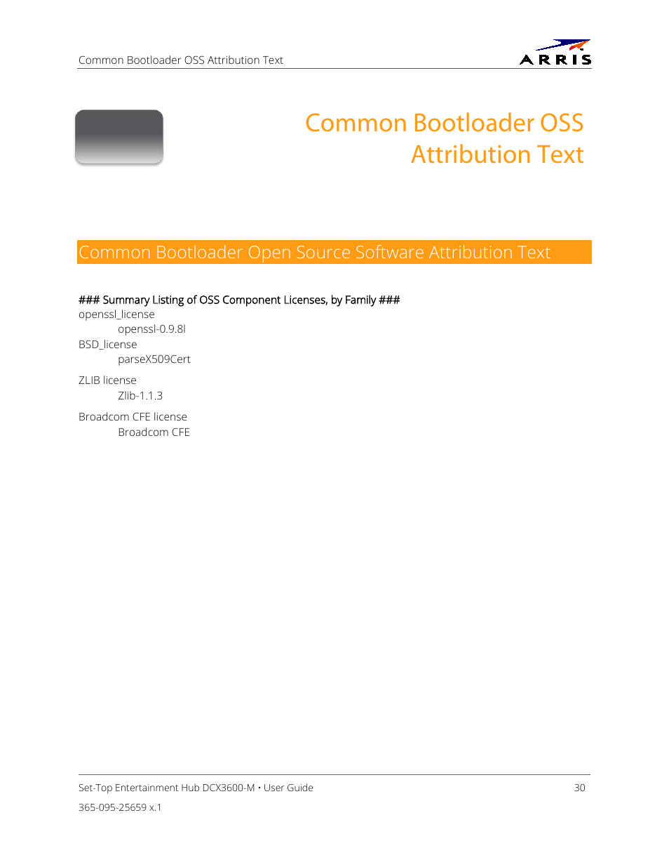 Common bootloader oss attribution text | ARRIS DCX3600 User Guide